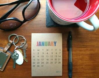2017 Small Desk Calendar or Wall Calendar - Modern Typography, Colored Typographic Calendar, Kraft Paper Block Type Minimalistic