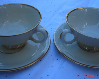 Pair of Vintage Lenox Fine China in the ''Mansfield'' Pattern - Beautiful