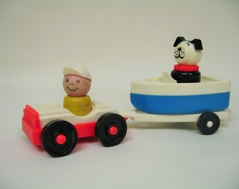 Fisher Price Vintage Car and Boat Set