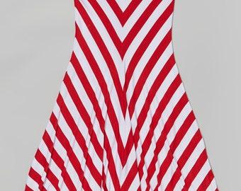 Red & White Chevron Maxi Skirt - Girl Maxi Skirt, Striped Maxi Skirt, child maxi skirt, maxi skirt