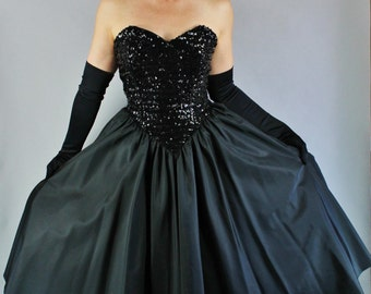 Vintage 80s does 50s Women's Black Taffeta Sequined Bodice Strapless Full Skirt Formal Prom Party Dress