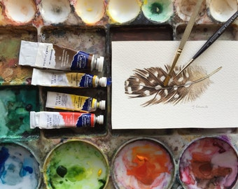 Brown Guinea Feather study 1 - Original Watercolour painting