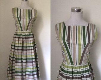 Vintage 1950s cotton jacquard striped sleeveless dress / Fifties green pink brown stripe fit and flare dress - small