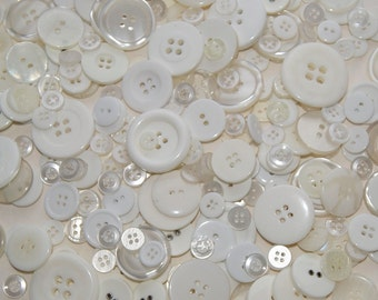 50 Buttons, Shades of  White and Pearl White Button Mix , Assorted Sizes, Sewing, Crafting, Jewelry (1284)