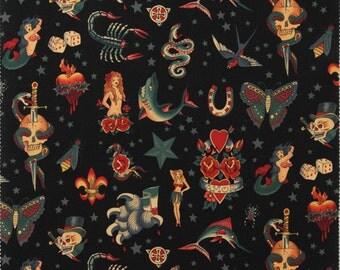 Alexander Henry - Nicole's Prints - Tattoo - BR colourway (Black)