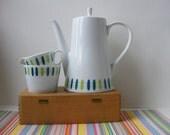 Vintage Melitta Zurich Coffee Pot Teapot Set Cream Sugar Blue Green Jupp Ernst