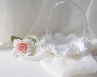 Vintage Fenton Milk Glass Silver Crest Basket Milkglass Candy Dish Wedding Decor Flower Girl Basket
