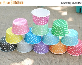 CLOSEOUT SALE 50 Polka Dot Candy Cups, Cupcake Liners, Nut Cups, Muffin Cups, Ice Cream Cups