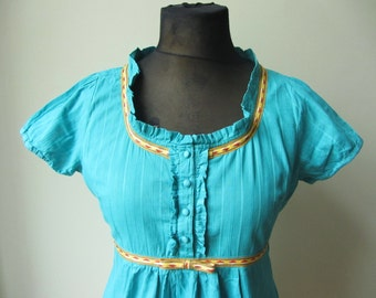 Teal Blue Praire Blouse, Upcycled Boho Tops, Grograin Ribbon Shirt, Tie Back Blouse, Shabby Chic Clothing, Empire Waist Blouse, Altered Tops