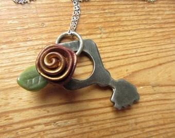 Vintage Key Pendant, Steampunk Key Necklace, Antique Key Jewelry, Upcycled Jewelry, Recycled Hardware Pendant, Rose and Key Pendant