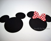 """Mickey & Minnie Mouse Heads with Red Polka Dot Bow Die Cuts - 2.5"""" - Set of 12"""