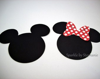 """Mickey & Minnie Mouse Heads with Red Polka Dot Bow Die Cuts - 2.5"""" - Set of 12+"""