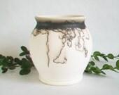 Horsehair  Burned onto Porcelain Vase - Black and White Vase -