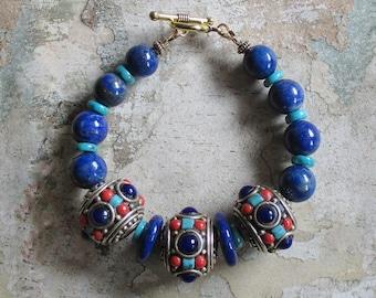 Nepalese Bead Bracelet -Turquoise Lapis