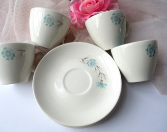 Vintage Teacups Coffee Cups Taylor Smith Taylor Ever Yours Boutonniere Teacups and Saucers Set of Four - Pink and Aqua