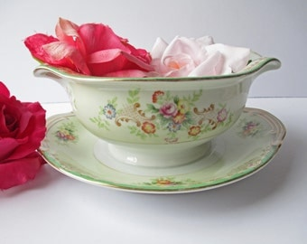 Vintage Morirama Green Floral Gravy Boat with Attached Underplate