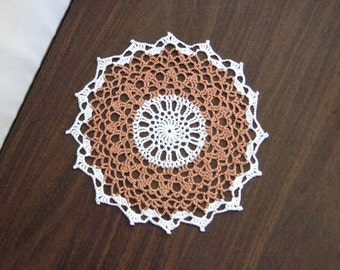 Copper Decor Crochet Lace Doily, Farmhouse Decoration, Rustic Modern, Table Accessory, Brown and White