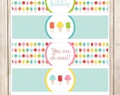 PRINTABLE ice cream water bottle labels . drink labels . ice cream cones, popsicles . sweet shop . happy birthday labels . INSTANT DOWNLOAD