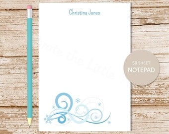 personalized notepad . snowflake notepad . snowflake note pad . personalized stationary . swirls flourish . winter stationery gift