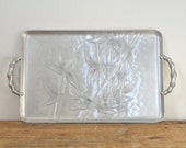 Vintage Everlast Forged Aluminum Bamboo Tray Hammered Aluminum Butler Serving Cocktail Tray Mid Century Display