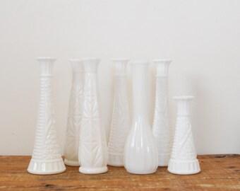 Vintage Mismatched Milk Glass Bud Vase Lot of Seven Instant Collection White Milkglass Wedding Decor Cottage Home Decor Display