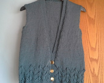 Hand Knitted V neck Button Vest