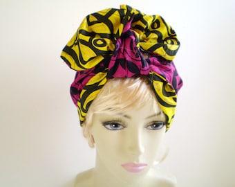 Fuchsia Yellow African Head Scarf, Yellow African Head Scarf, Dark Pink African Head Scarf, Reversible African Head Scarf