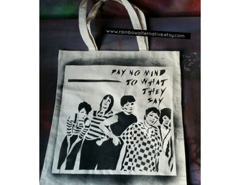 The Go-Gos tote bag stencil and spray paint art by Rainbow Alternative on Etsy