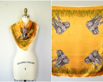 vintage african safari scarf / golden orange elephant animal print square scarf