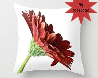 """Red Pillow Cover, 16"""" Gerbera Daisy Cushion Case, Bedroom Floral Accent, Living Room Sofa Decoration, Country Chic, Botanical Art Decor"""