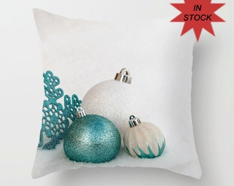 Turquoise Holiday Pillow Cover for Bed, Christmas Ornament Cushion Cover, White Hostess Gift Idea, Glitter Look Snowflake Themed Decoration