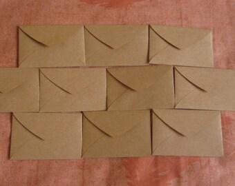 "10 Mini Brown Envelopes - Brown Kraft Envelopes - Recycled Mini Envelopes - Little Envelopes - 2 7/8"" x 2"""