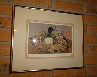 """1980's Batik Limited Edition Artist Janet Searfoss """"The Loon"""" Signed & Numbered Art Print"""