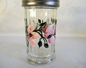 Cheese shaker, hand painted shaker, painted pink roses and rosebuds