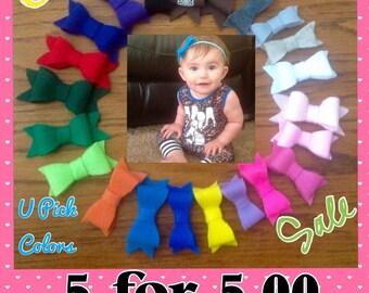 Felt Bow Clip, SALE, 5 for 5.00, 11 for 10.00, Hair Clip Sale, Felt Bow Sale, Hair Clips, Hair Bows