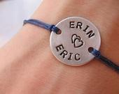 Couples bracelet - personalized bracelet - his and her bracelet - handstamped bracelet - cord bracelet - name bracelet - saying braclet