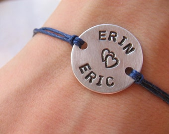 Couples bracelet - personalized bracelet - his and her bracelet - handstamped bracelet - cord bracelet - name bracelet - saying bracelet