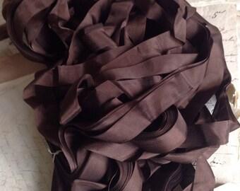 Vintage Tape Ribbon, Chocolate Brown Grosgrain Taffeta French Trim  / Millinery Ballet & Dolls / 5 yards
