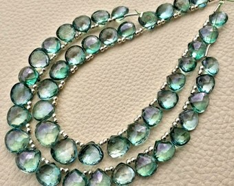 Brand New, AAA Quality Flawless Mystic Green TOPAZ Faceted Heart Shape Briolettes,9-10mm size,Great Price Rare Item.