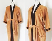 Vintage Men's Sea Island Smoking Robe / Brown Waist Tie Mens Lounge Wear Robe Excellent Condition One Size Fits All