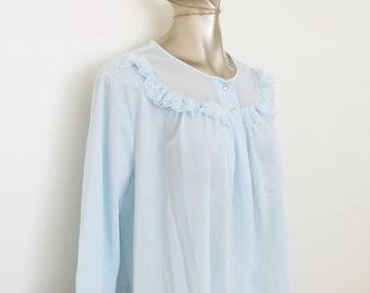 25% OFF SALE Vintage 1950's Blue Sheer Bed Jacket / Lorraine Nightgown Lingerie Bolero Lace Trim Size Large