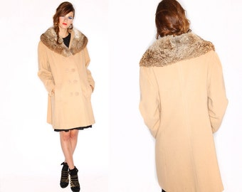 1960s Vintage Double Breasted Mod Peacoat with Real Fur Shawl Collar