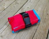 Saddle Tool Roll - Red X-Pac ripstop fabric with teal trim