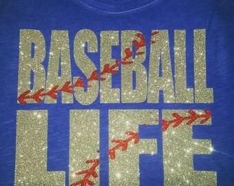 Baseball Life glitter shirt, Baseball Mom Shirt, Baseball Mom Tee, Baseball Mom Tank, Baseball Bling, Softball Mom Tee, Baseball LIfe tee