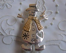 Vintage Silver and Gold Tone Snowman Brooch with Bird, Hat and Scarf