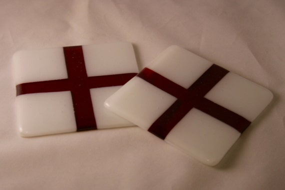 St. George's Cross coasters - red and white handmade glass
