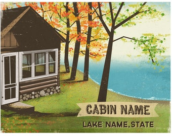 Customizable Lake Cabin Print