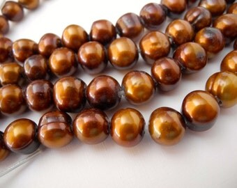 Large Hole Freshwater Pearl Chocolate Earth Tone Brown 11mm 12mm  Potato 18 Large Pearls