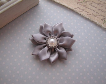Flower Girl . satin ribbon flower . clippie . girls hair accessory . silver . choose your clip style
