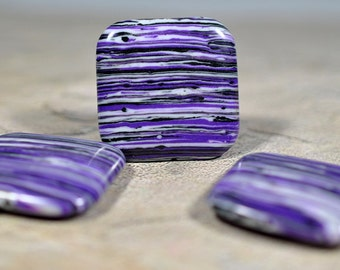 Purple, black and white striped glass beads, drilled, 30mm #580